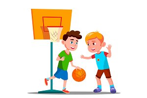 Two Boys Playing Basketball On The