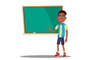 Little Boy Answers At The Blackboard