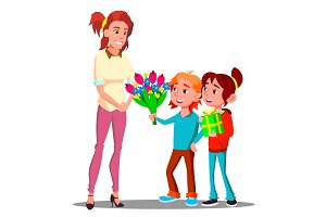 Children Give Flowers And Gifts To