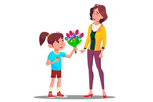 Little Girl Gives Flowers To Mother