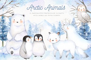 Arctic Animals Watercolor Clip Arts