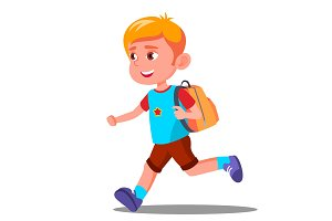 Happy Child Running With A School