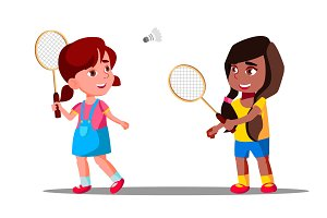 Children Playing Badminton On The