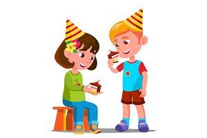 Happy Children Eating A Birthday