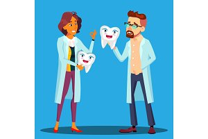 Doctor Dentist Holding A Smiling