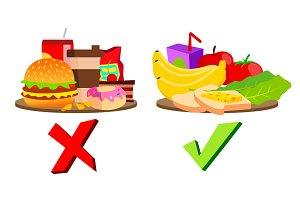 Healthy And Unhealthy Food Concept