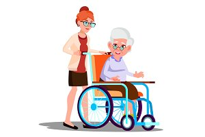 Nurse Carrying A Disabled Old Woman