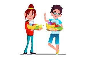 Healthy Food, Happy Boy And Girl