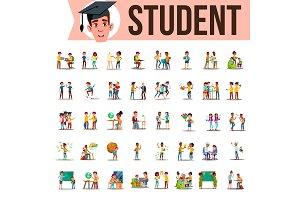 Student Set Vector. Lifestyle