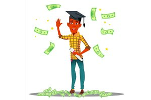 Falling Money On Smiling Student In