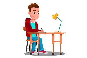 Writing Boy At The Table With Desk