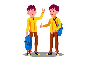 Boy With School Bag Holding Thumb Up