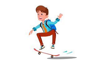 Schoolboy Skateboarding With