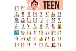 Teen Set Vector. Lifestyle Teenager