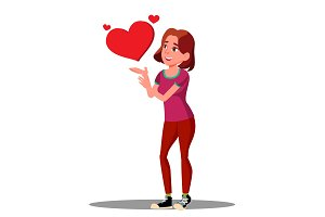 Young Smiling Girl Making A Heart