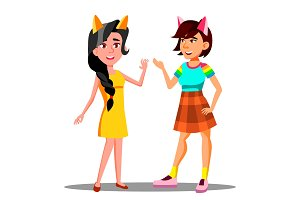 Cute Teen Girls With Cat Ears On