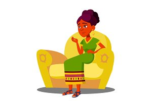 Girl Is Sitting On Sofa With Strong