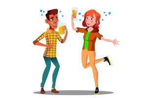 Two Drunken Teenagers With Beer