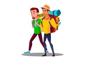 Two Guy Friends Teen Going Hiking