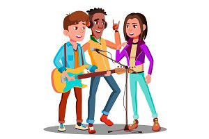 Teen Rock Band Playing Music On