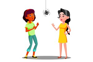 Scared Teen Girls With Spider On The