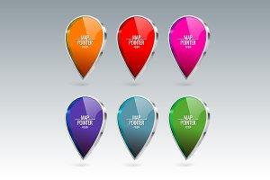 Shiny gloss Map pointer icon set