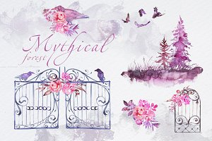 Watercolor Mythical Forest Clipart