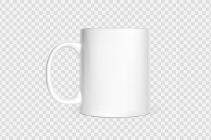 Realistic white cup isolated
