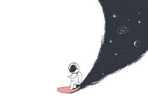 astronaut rides on surfboard