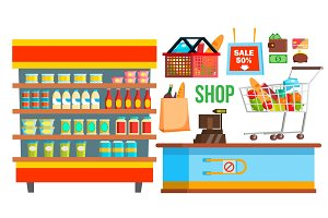Shopping Mall Supermarket Vector