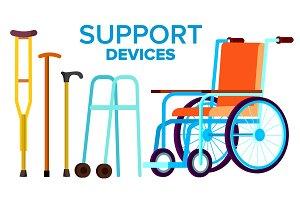 Support Items Vector. Walk Stick