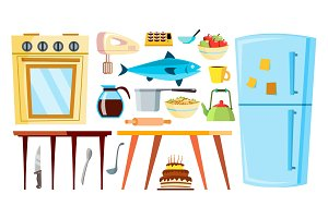 Kitchen Items Vector. Refrigerator