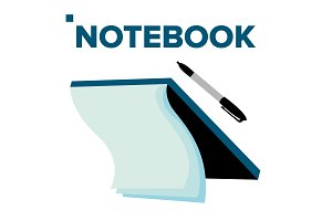 Notebook And Pen Vector. For