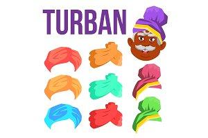 Turban Vector. Indian, Arabic Head