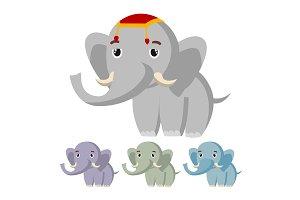 Elephant Vector. Cute African Animal