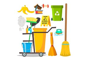 Cleaning Items Vector. Household