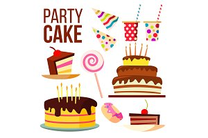 Party Sweet Cake Vector. Big