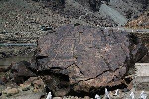 Petroglyphs at the bank of Indus riv