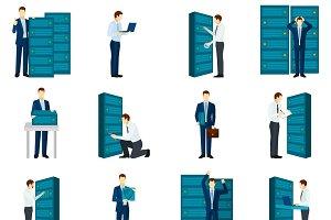 Flat datacenter icons set