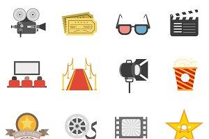Movie icons flat set