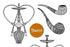Doodle retro smoke set