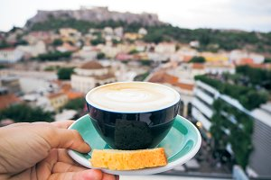 Coffee. View of the Acropolis.Athens