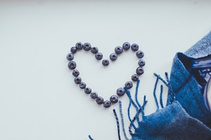 heart made of blueberries