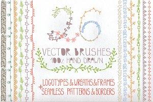 Hand drawning Doodle brushes set 03
