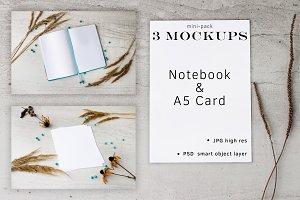 Mini-pack Mockups/Notebook & A5 Card