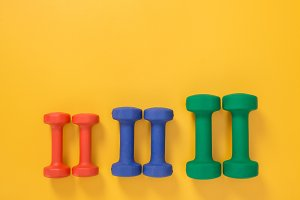 Dumbbells of different colors