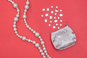 Pearl necklace and silver purse