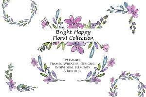 Bright Happy Flowers Clip Art