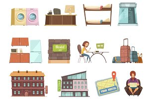 Hostel isolated retro icons set