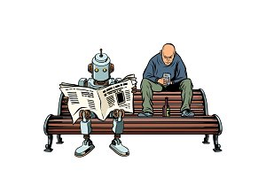 The robot reads the morning